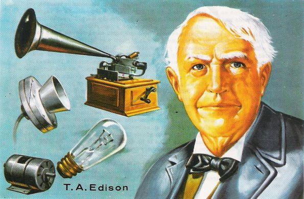 Thomas Alva Edison, vynašiela alebo zdokonalil fonograf, žiarovku, uhlíkový mikrofón